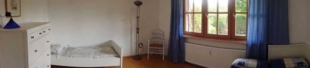 Panoramabild Schlafzimmer | Schlafzimmer Mit 3 Betten Und Noch Platz Fur Ein Reisebett Fewo Mering